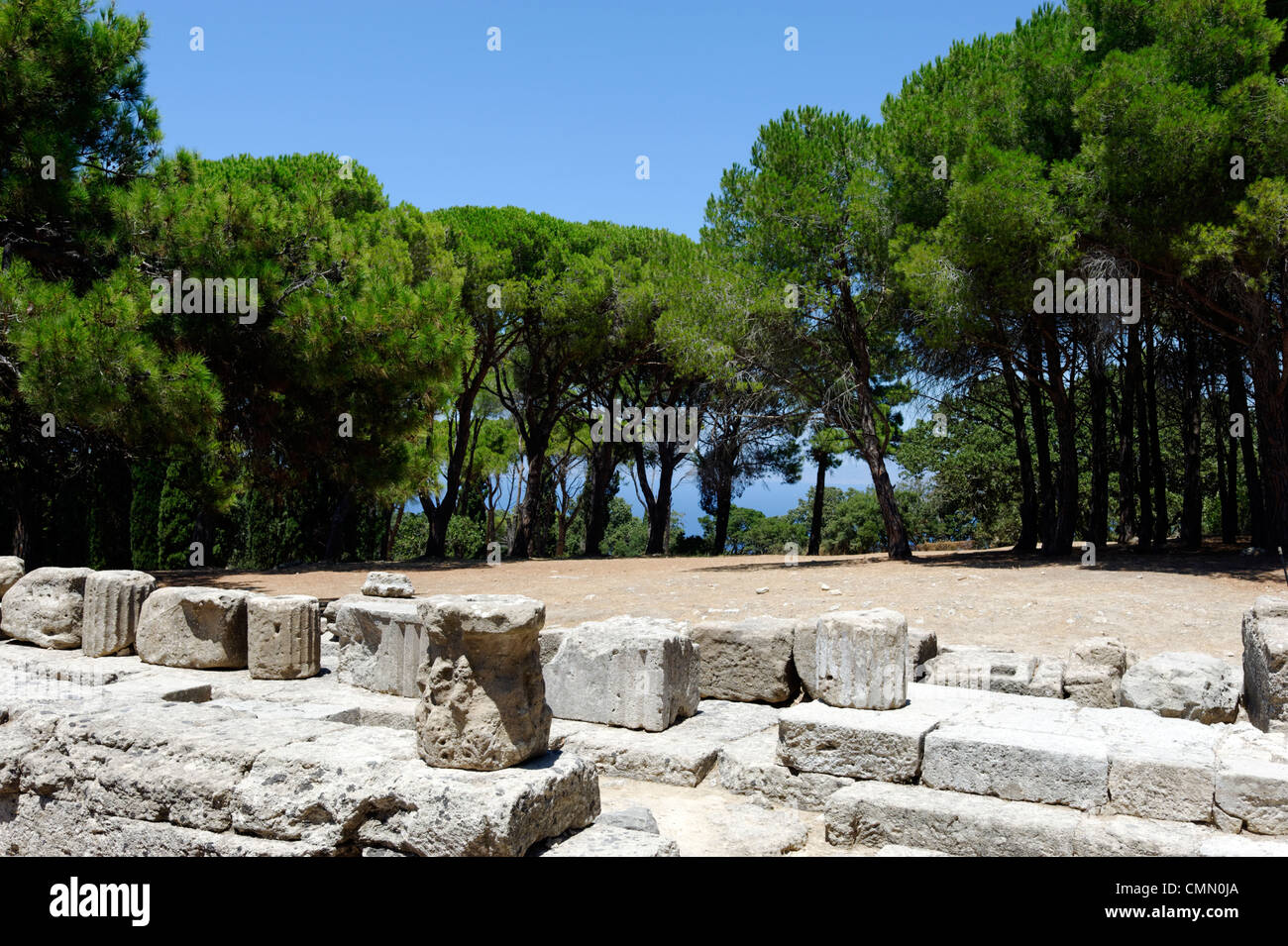 Rhodes. Greece. View of the foundations and column fragments of the Temple of Athena Polias Doric structure of the - Stock Image