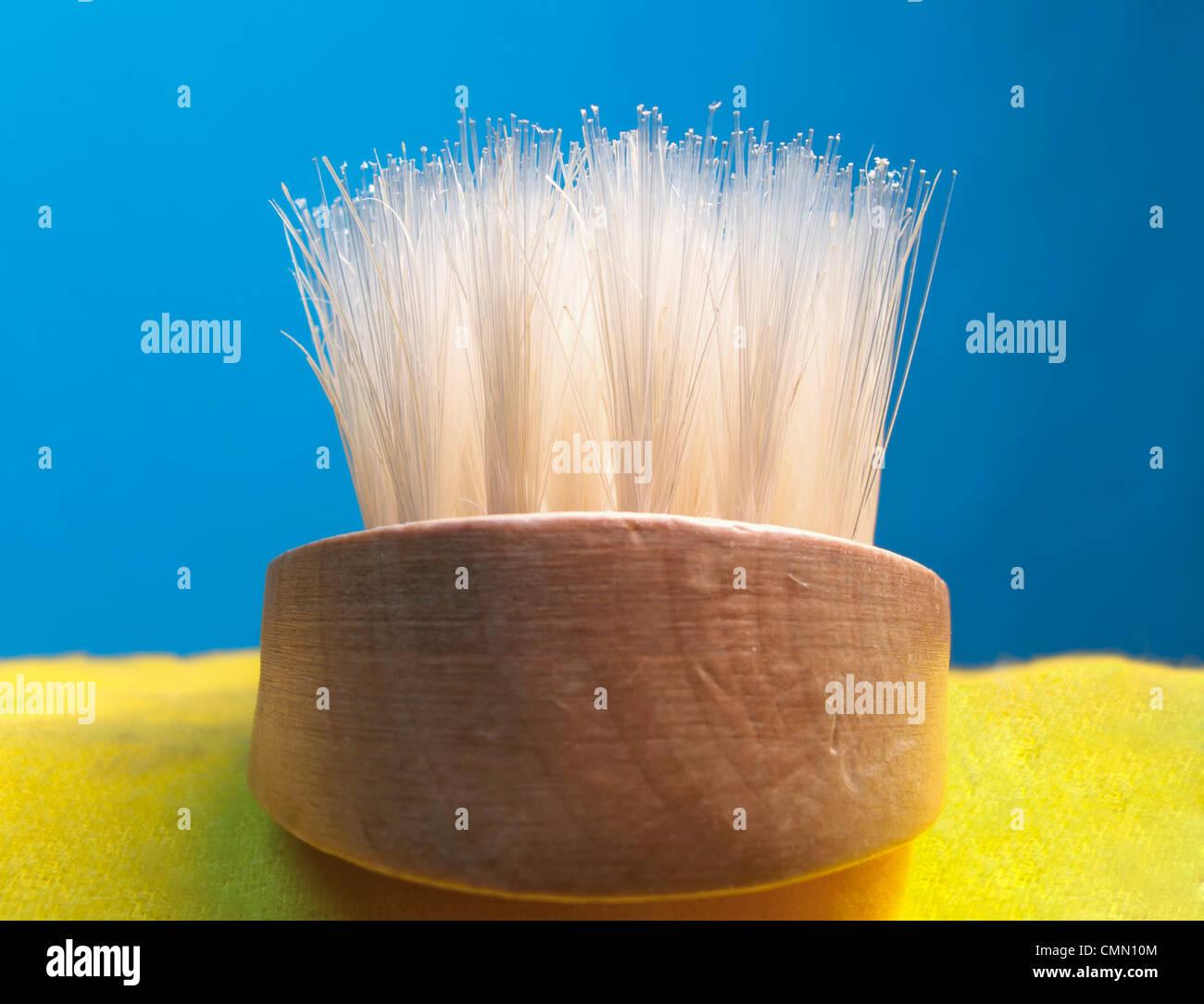 Closeup of bristles on a brush - Stock Image