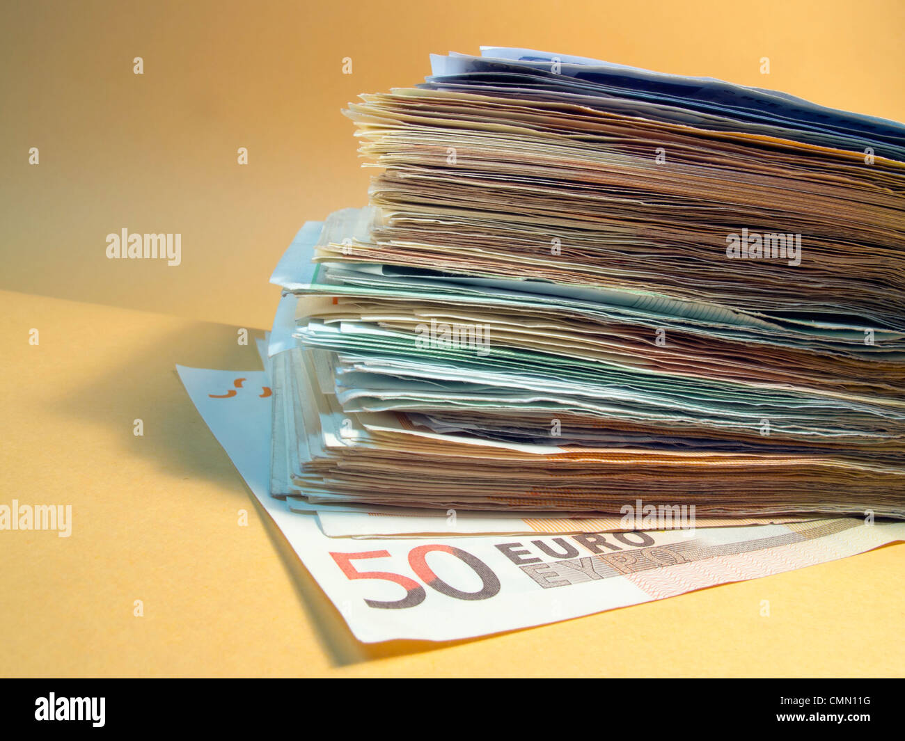 Stack of Euro notes - Stock Image
