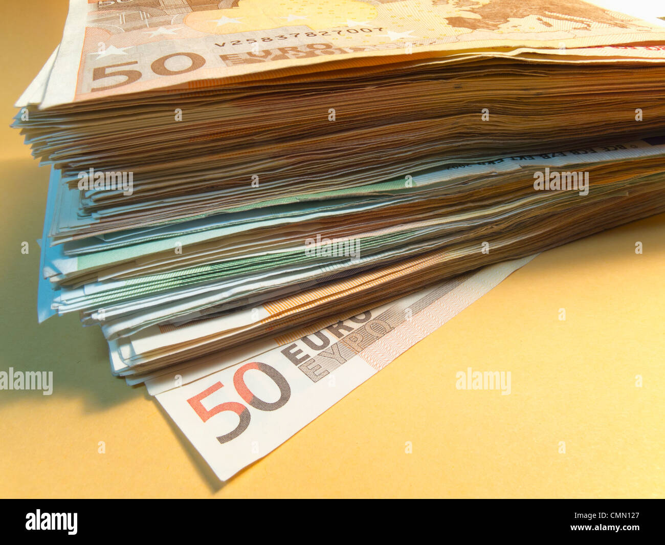 Stack of Euro notes Stock Photo