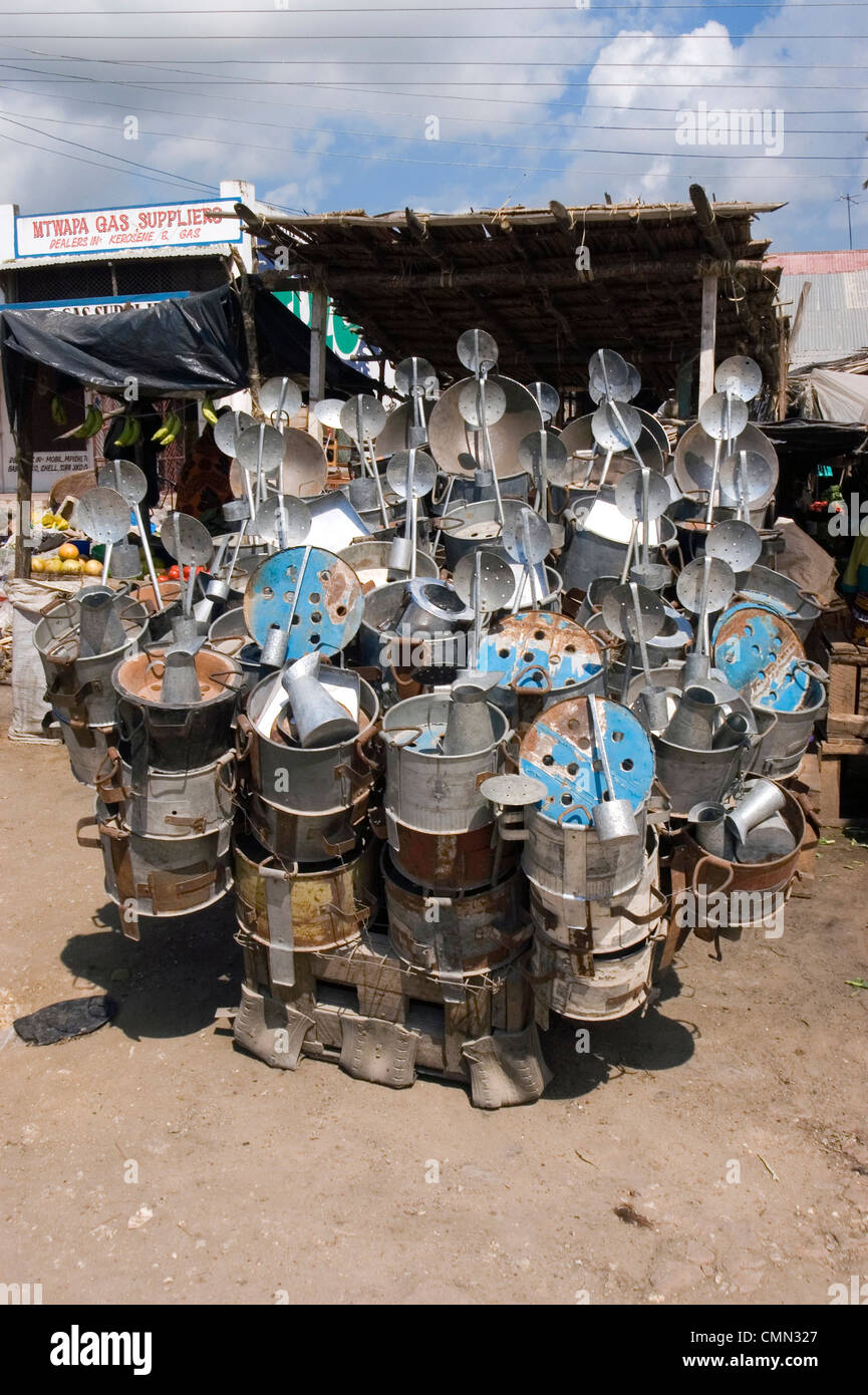 Charcoal stoves recycles from oil drums, Mtwapa, Kenya - Stock Image