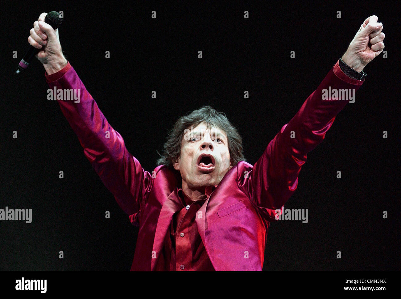 Mick Jagger performing with the Rolling Stones in Boston - Stock Image