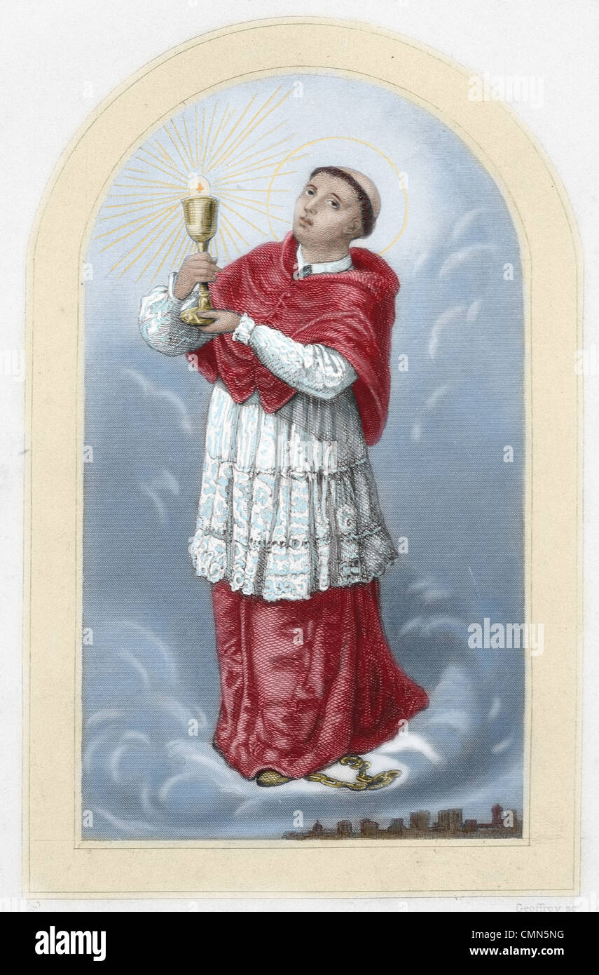 Saint Raymond Nonnatus (1204–1240). Saint from Catalonia in Spain. Colored engraving. 19th century. - Stock Image