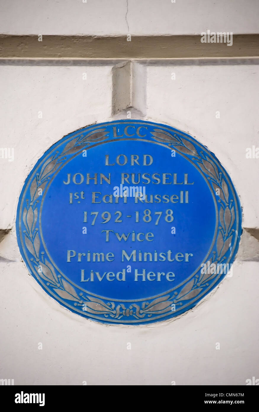 london county council blue plaque marking a home of twice prime minister lord john russell, belgravia, london, england - Stock Image