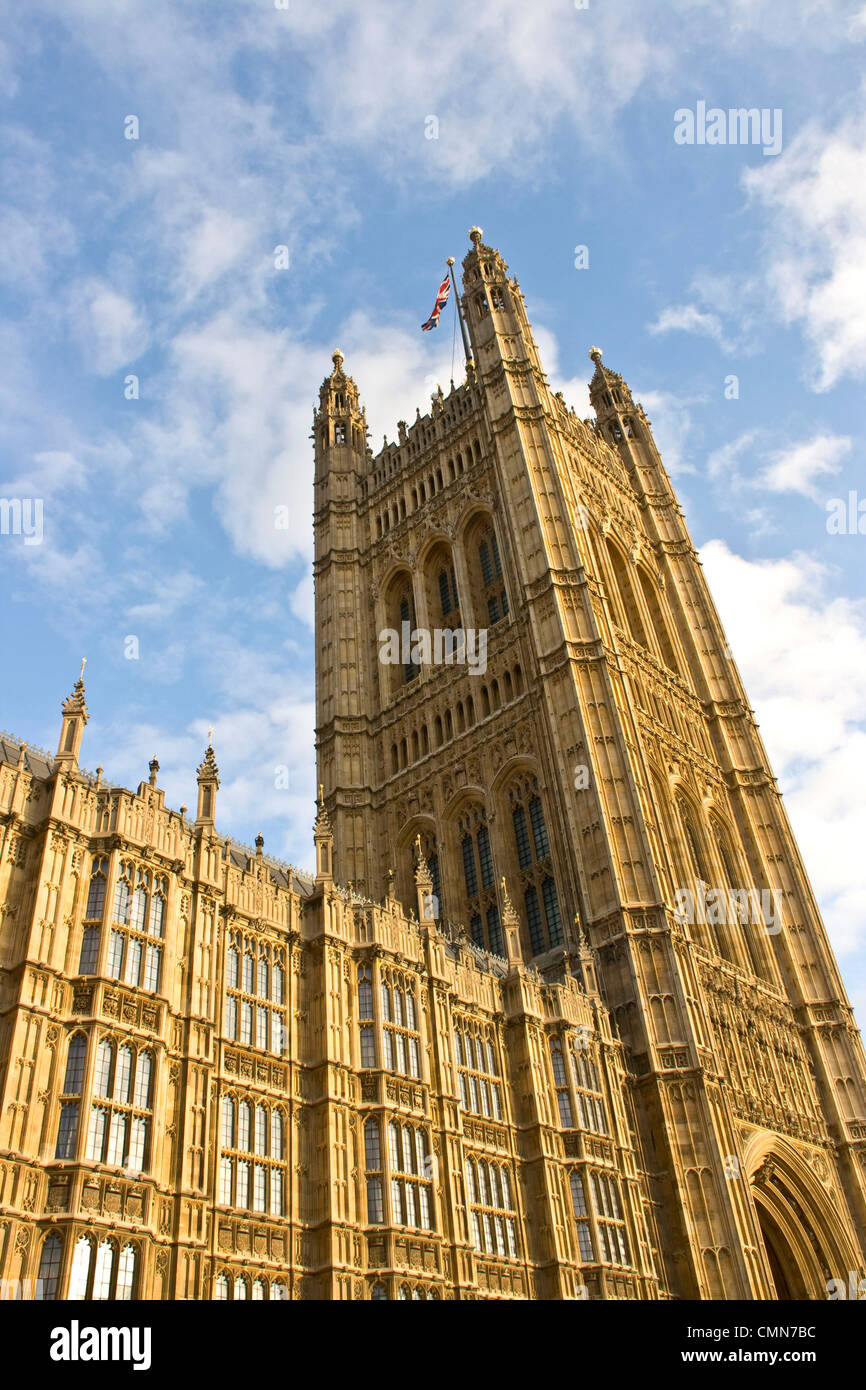Gothic Revival Architecture Victoria Tower Houses Of Parliament Grade 1 Listed UNESCO World Heritage Site London England Europe