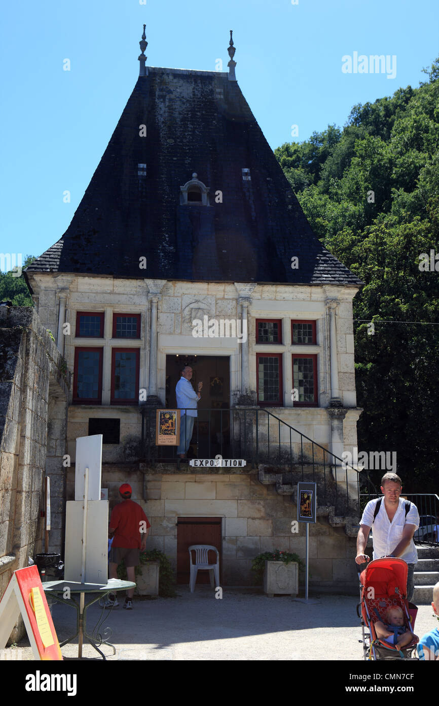 Renaissance style building being used for an art exhibition in the French town of Brantome in the Dordogne - Stock Image