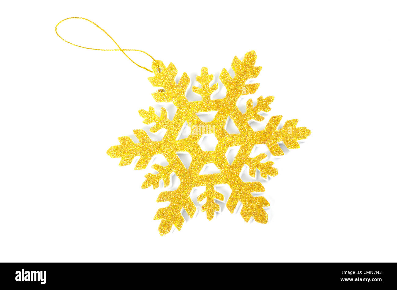 Christmas tree decoration star isolated on white background - Stock Image