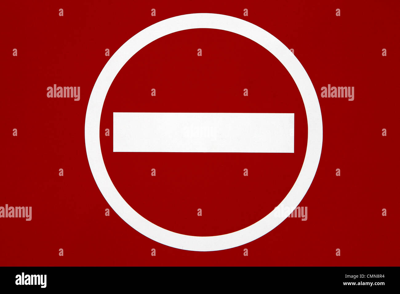 No entry sign on red background - Stock Image