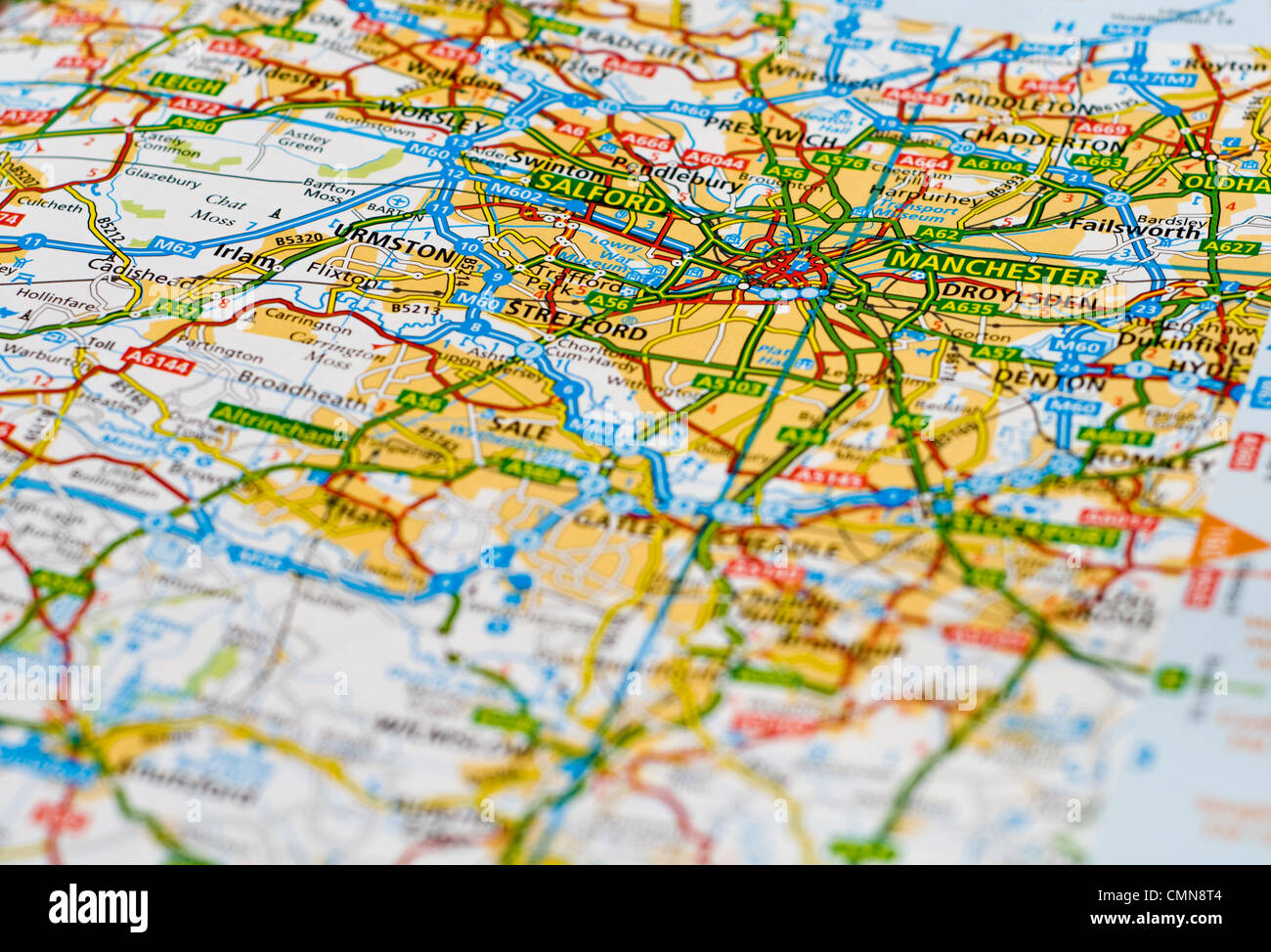 close up of a map of england focused on manchester stock image