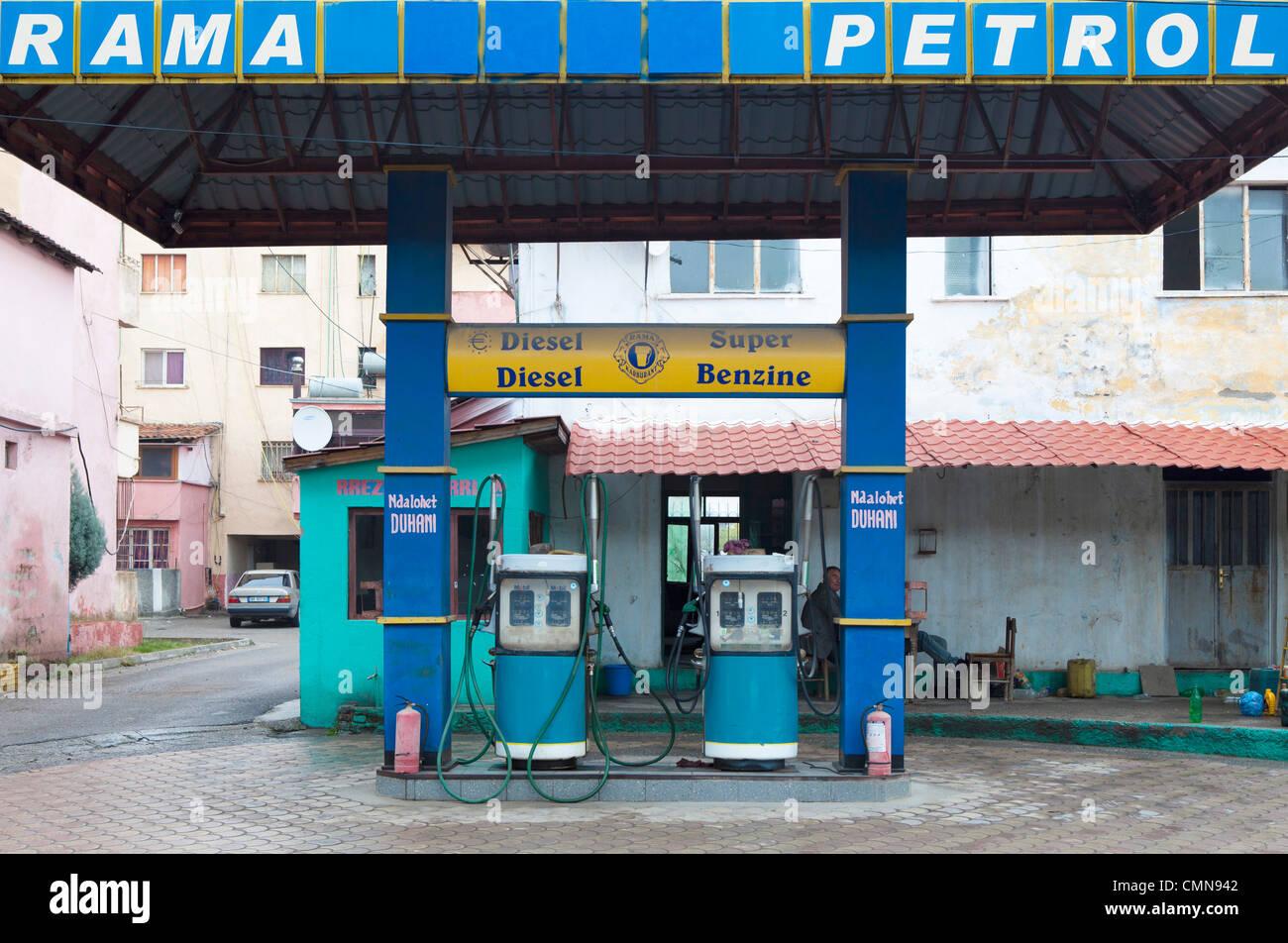 petrol station, Koplik, Albania - Stock Image