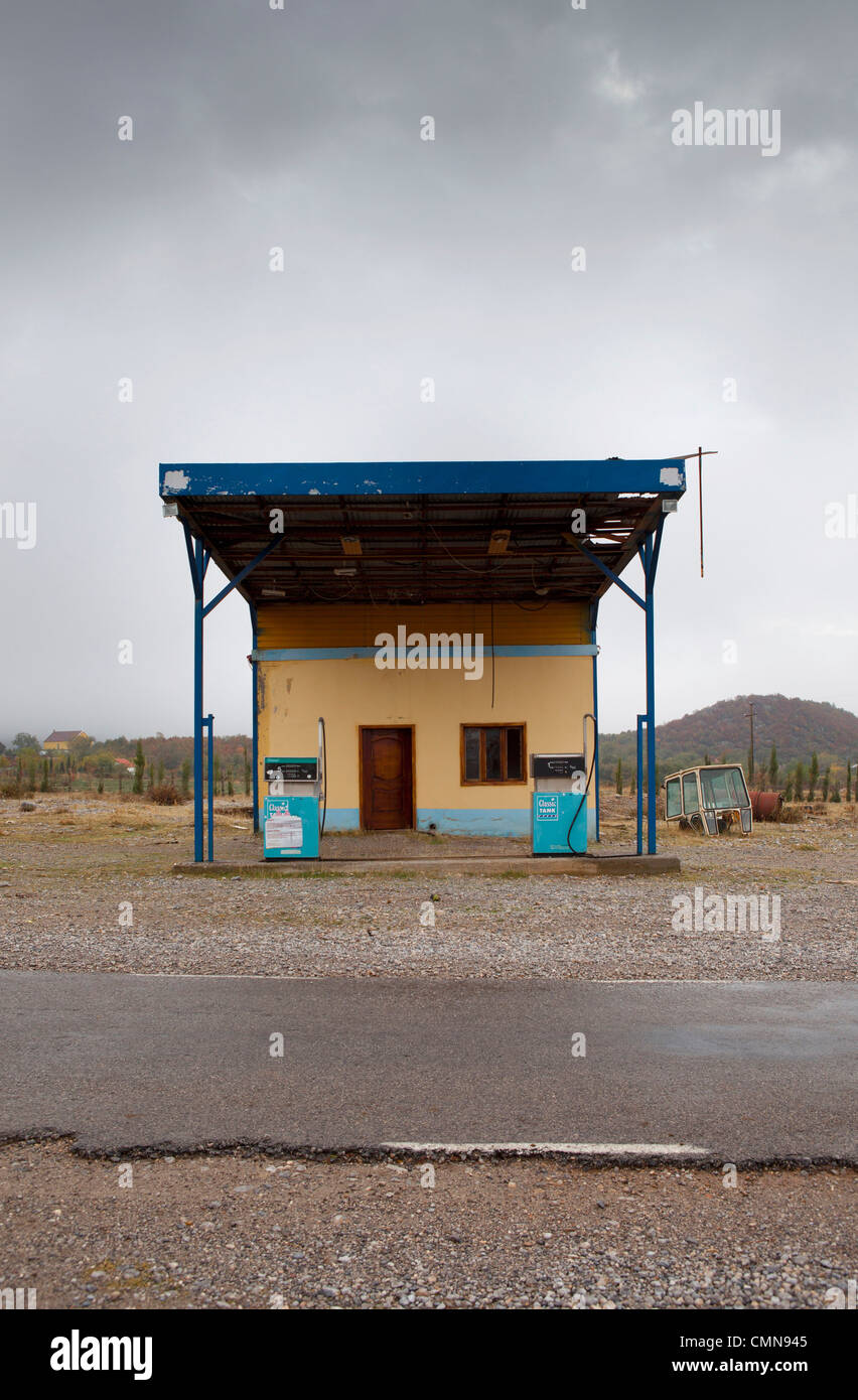 petrol station, Boge, Albania - Stock Image