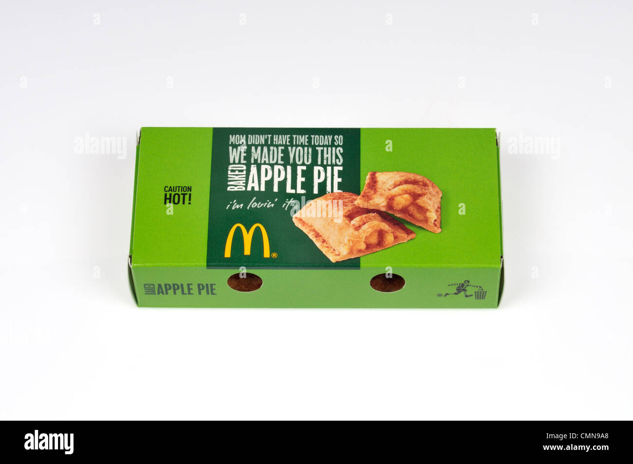 McDonald's hot apple pie in packaging on white background cut out USA. - Stock Image