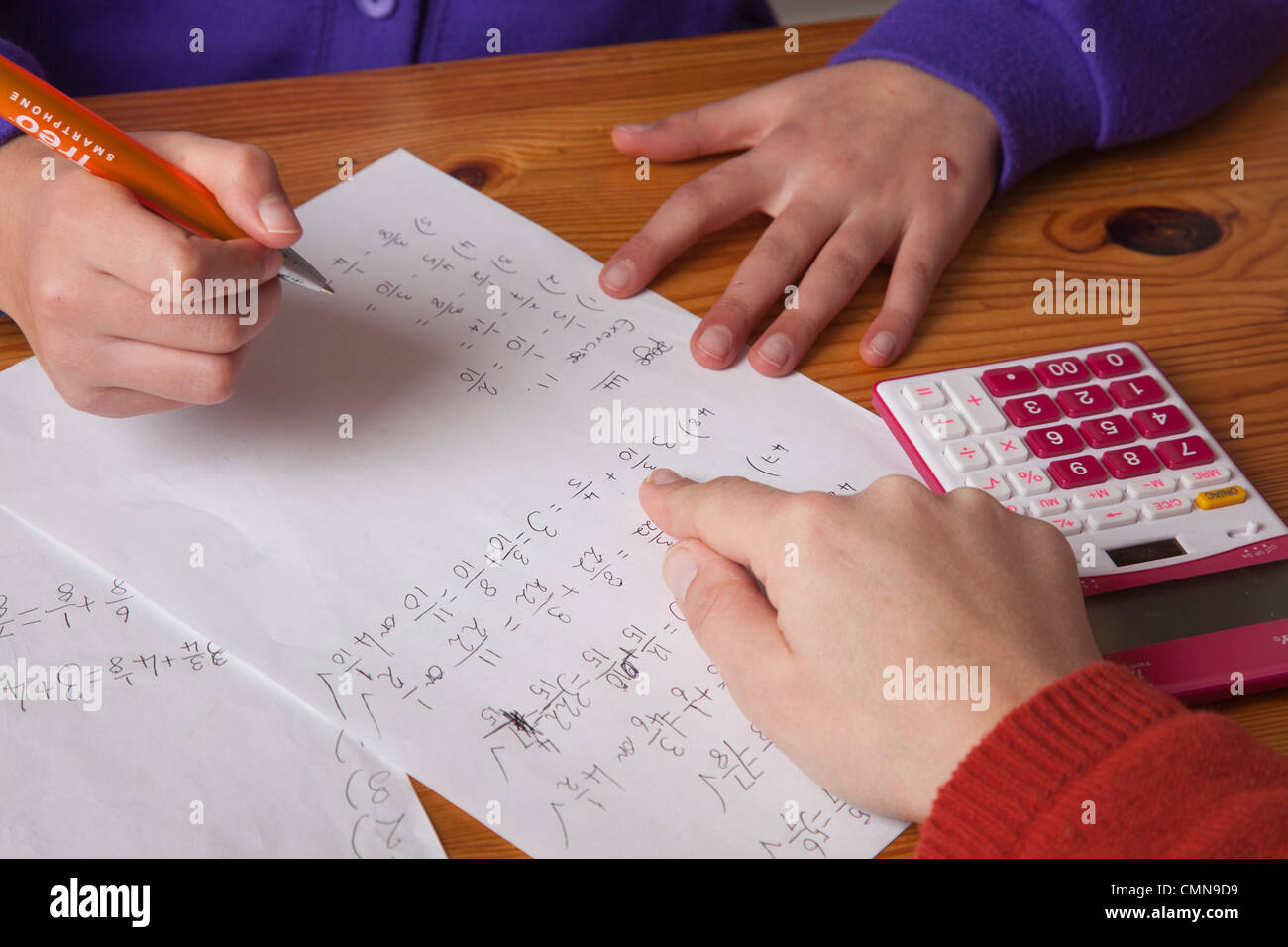 Schoolgirl having a math tuition - Stock Image