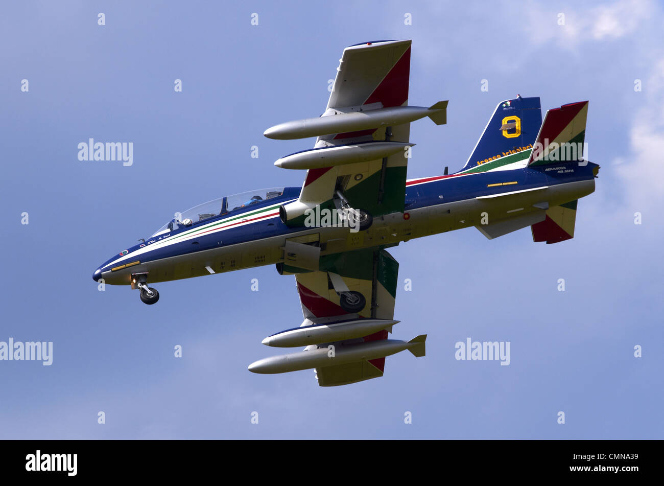 Aermacchi MB-339 operated by the Frecce Tricolori on final approach for landing at RAF Fairford Stock Photo