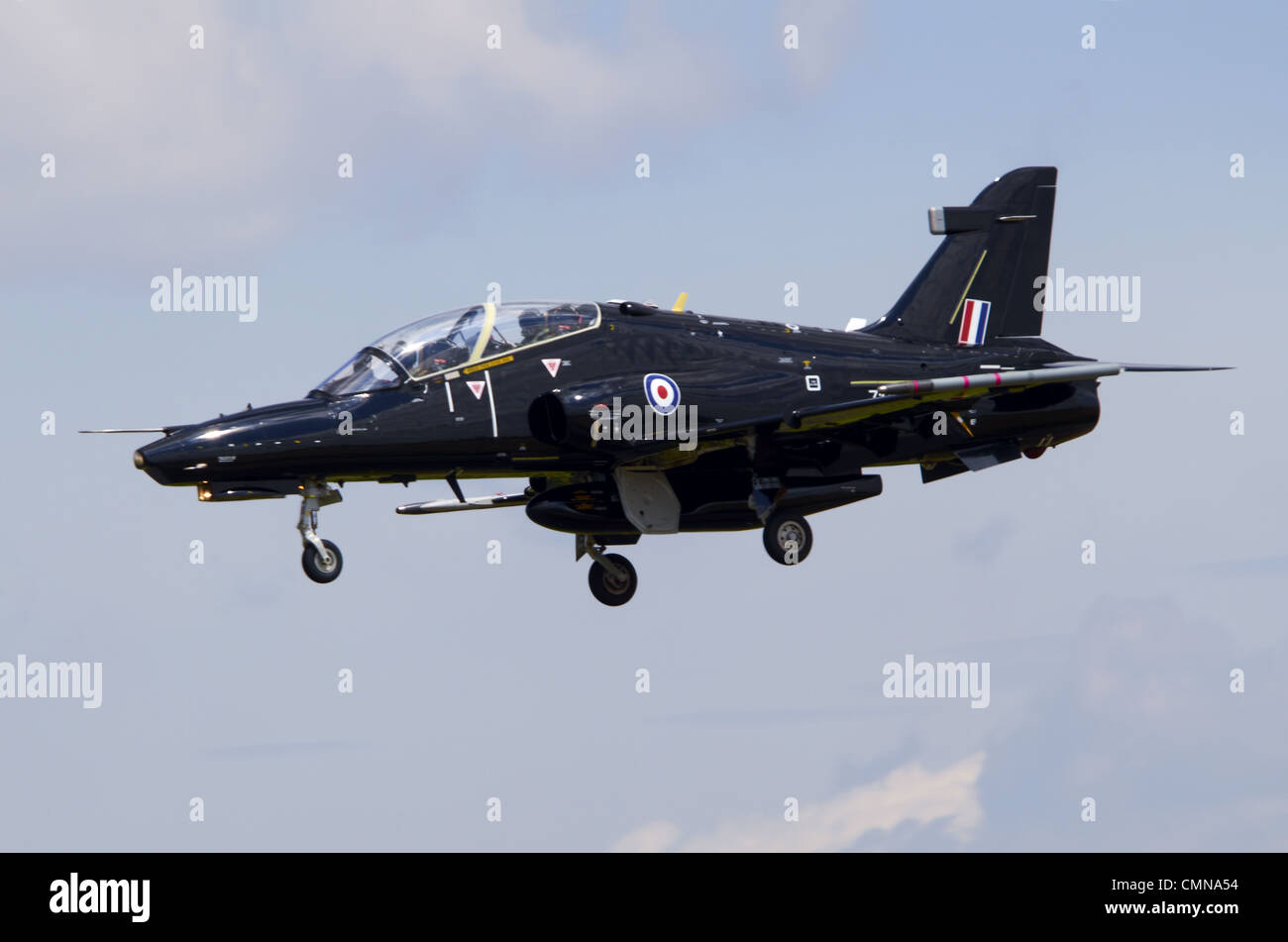 BAe Systems Hawk T2 operated by the RAF on final approach for landing at RAF Fairford - Stock Image