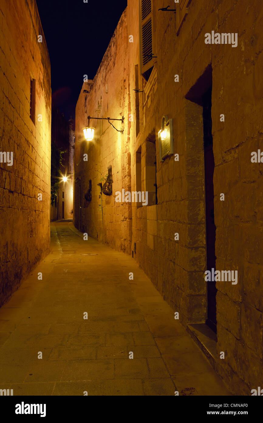 A quite nightime photograph, Mdina, Malta - Stock Image