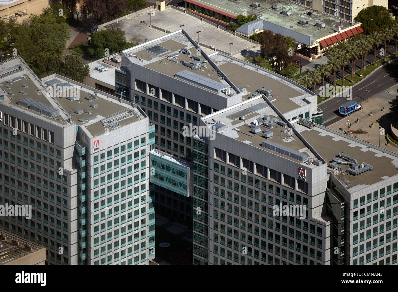 aerial view above Adobe Systems San Jose California corporate headquarters - Stock Image