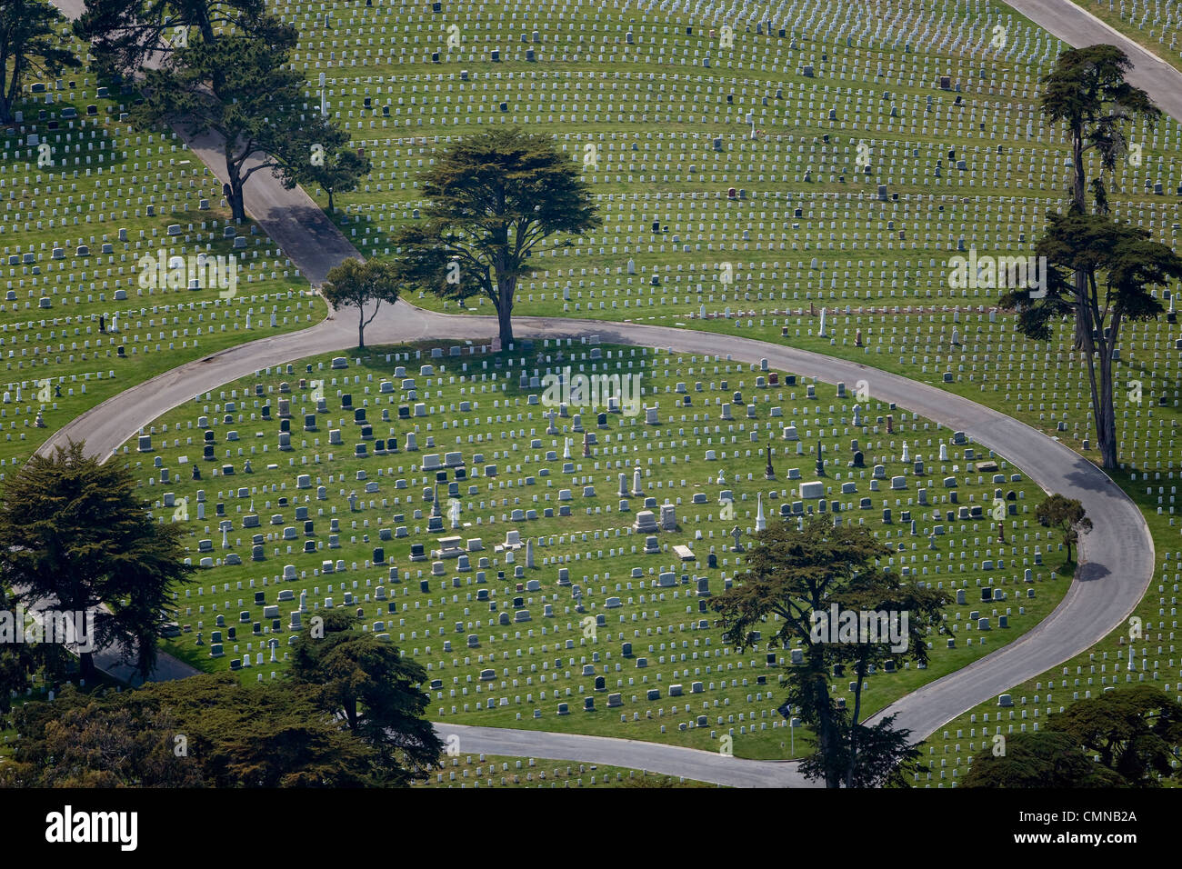 aerial photograph National Cemetery Presidio of San Francisco - Stock Image