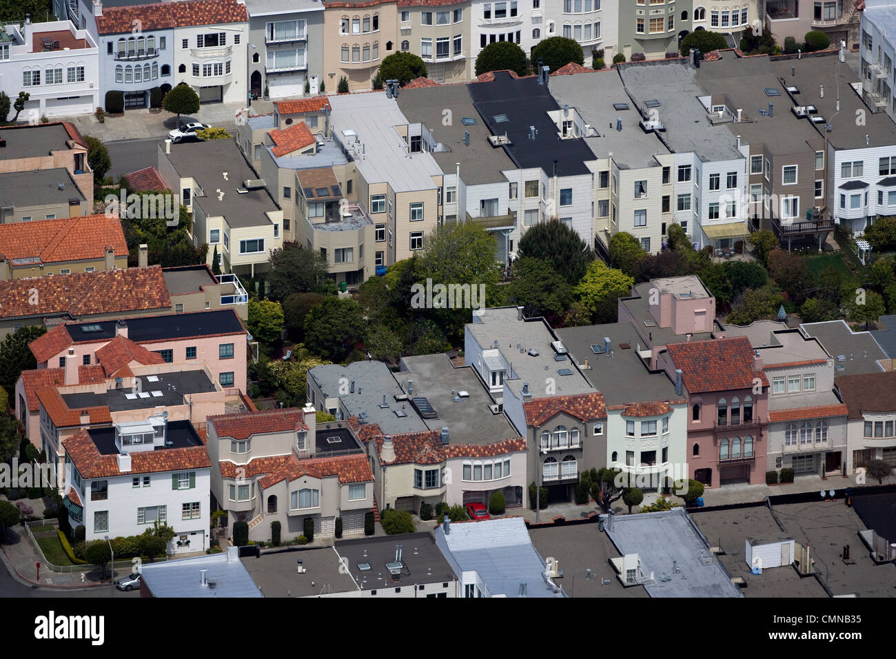 aerial photograph Pacific Heights residential neighborhood San Francisco California - Stock Image
