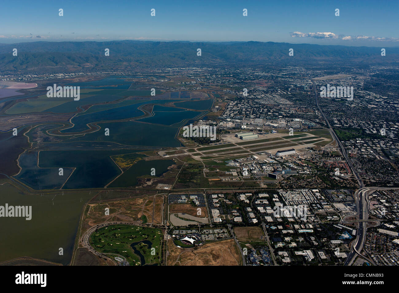 aerial photograph Mountain View, Silicon Valley, California - Stock Image