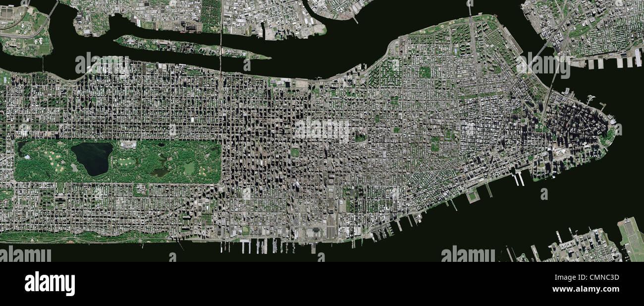 Aerial Photo Map Manhattan New York City Stock Photo Alamy