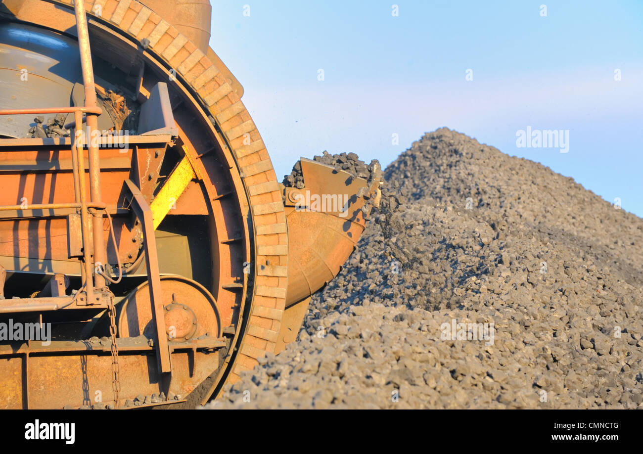 bucket wheel excavator for digging the brown coal Stock Photo