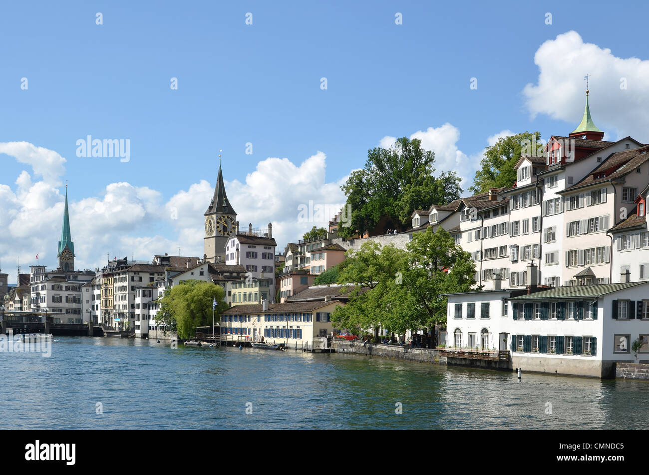 The River Limmat waterfront of Zurich. - Stock Image