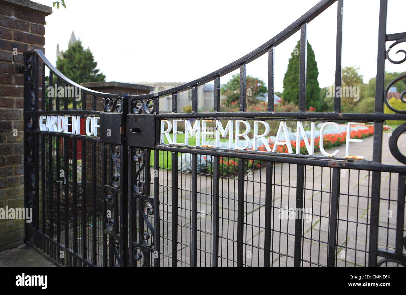 Garden of Remembrance written on entrance gates - Stock Image