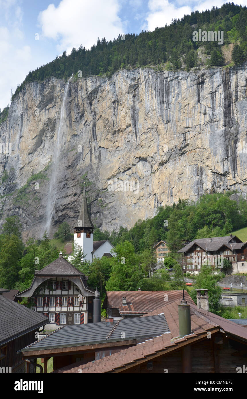 The town of Lauterbrunnen in the Bernese Oberland in Switzerland. - Stock Image