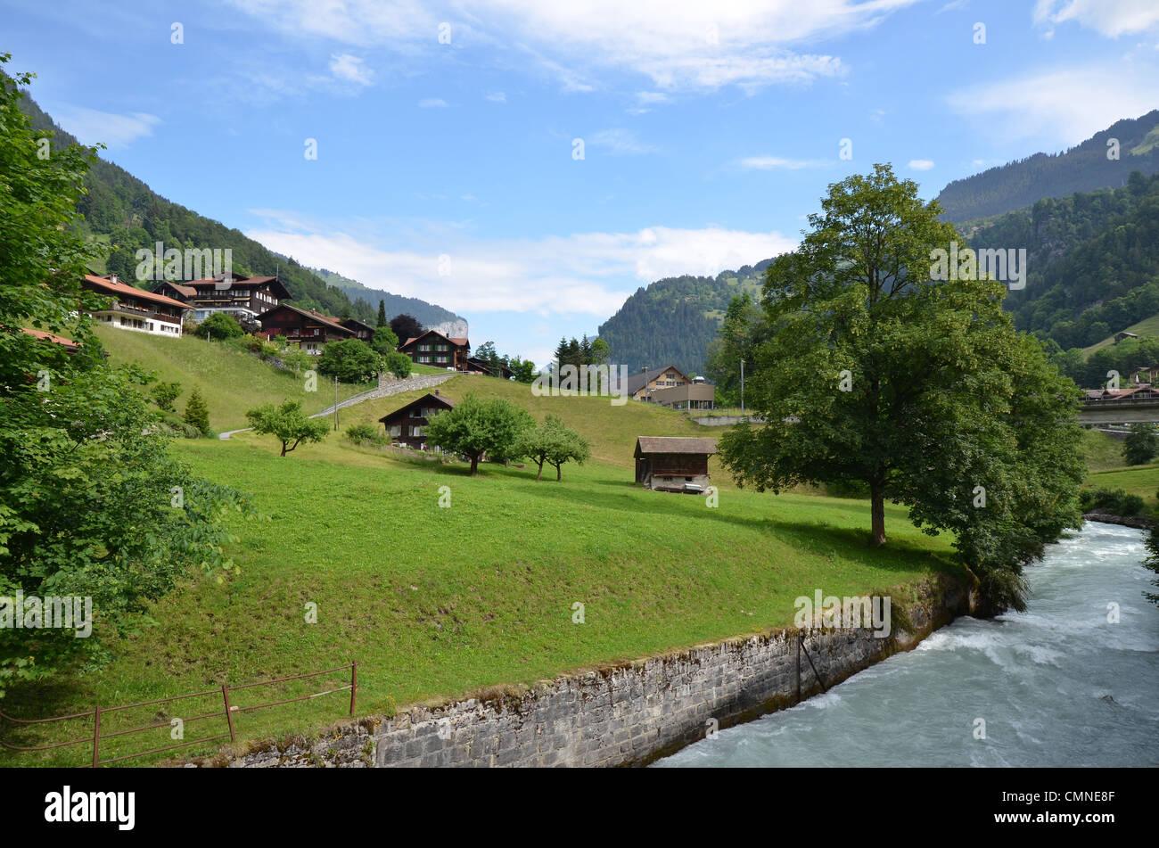 Valley at Lauterbrunnen in Switzerland - Stock Image