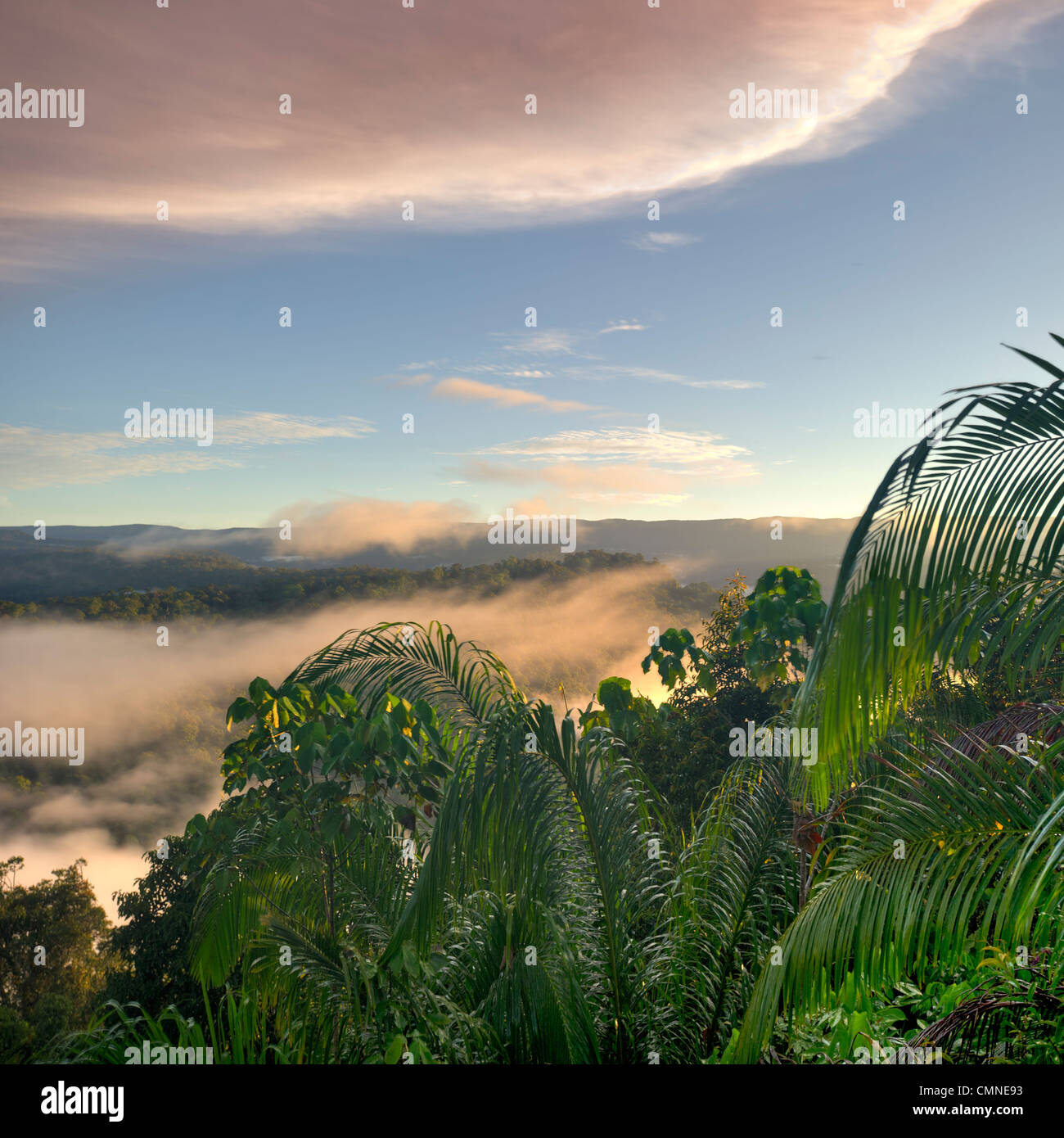 A dawn/sunrise view into the heart of Maliau Basin, taken from the edge of the southern plateau, near Lobah Camp, - Stock Image