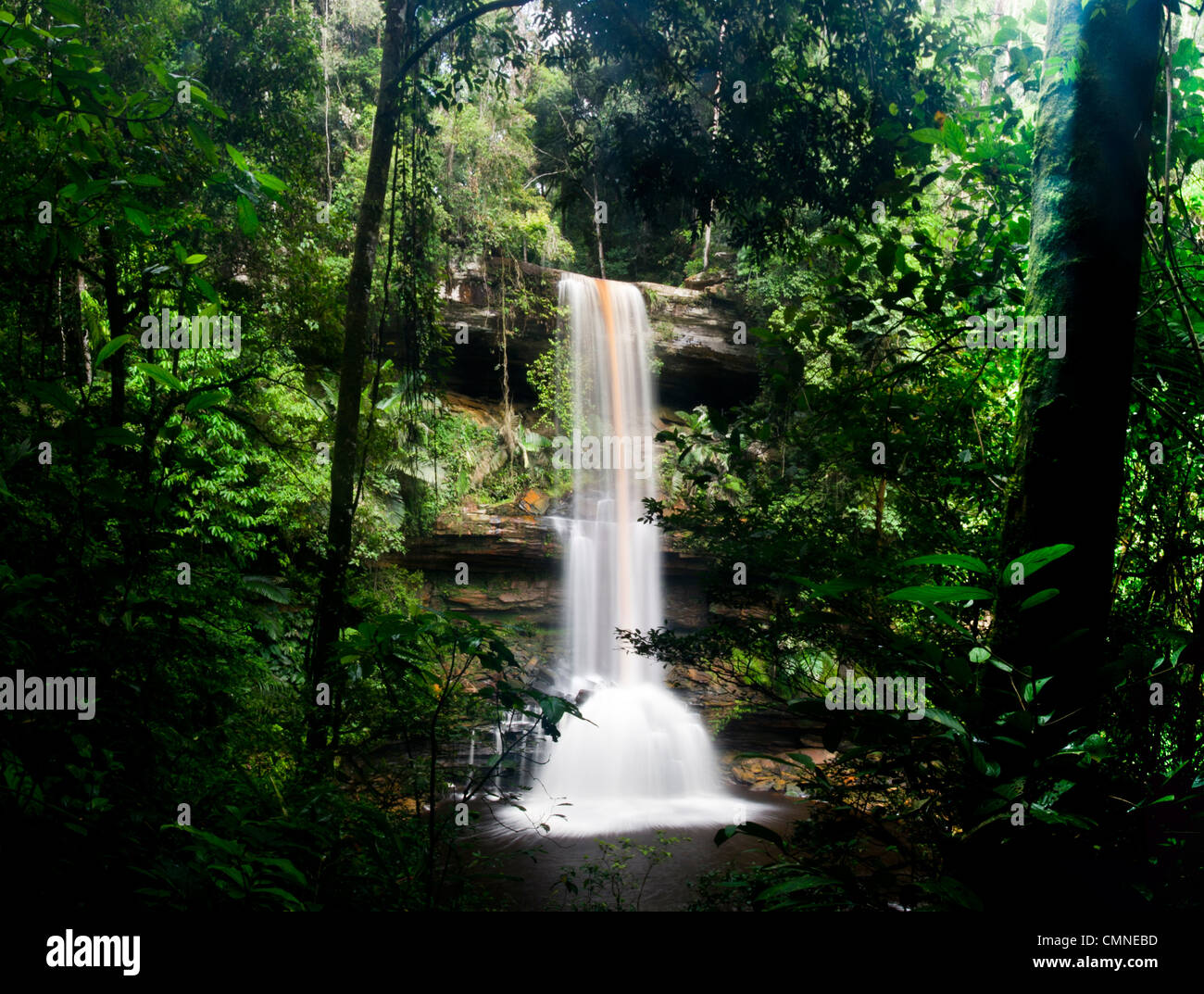 Takob-Akob Falls, edge of southern plateau, Maliau Basin. Sabah's 'Lost World', Borneo. - Stock Image