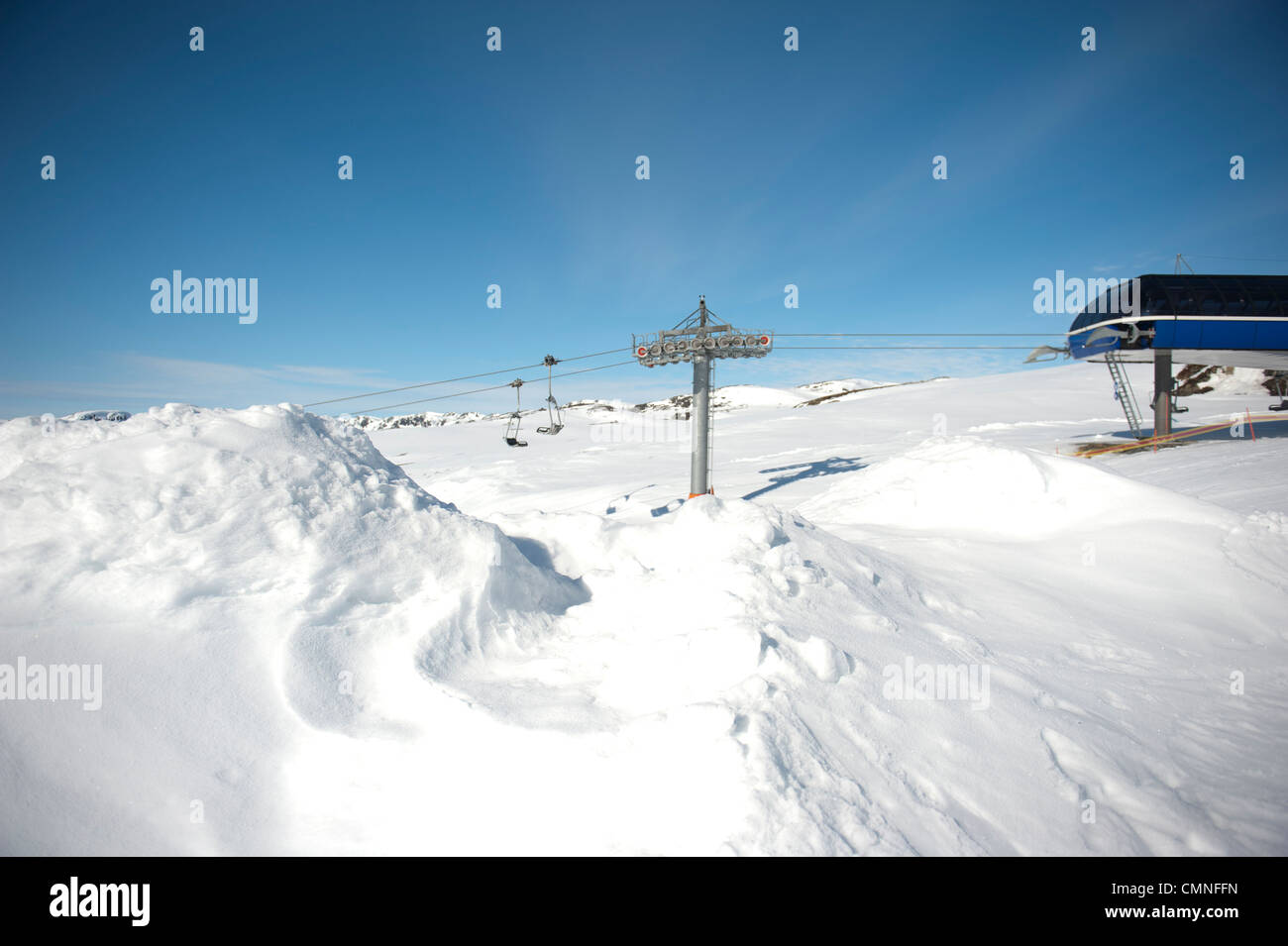 Mountain station of the ski lift linking Breive to Noose peak and Hovden, a skiing resort in southern Norway - Stock Image