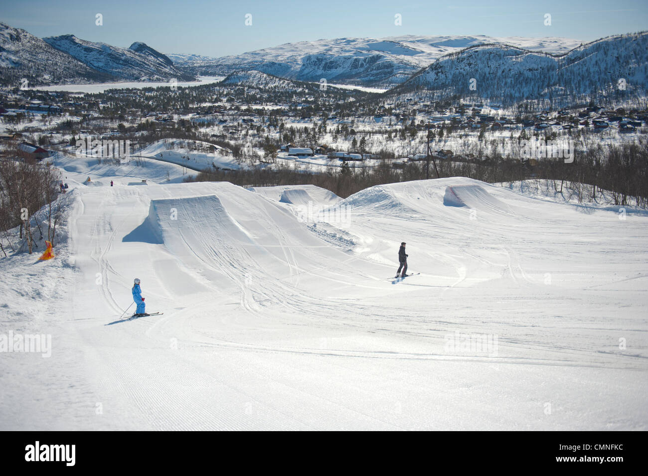 The freestyle park on the slopes of the skiing resort Hovden in southern Norway's Setesday - Stock Image