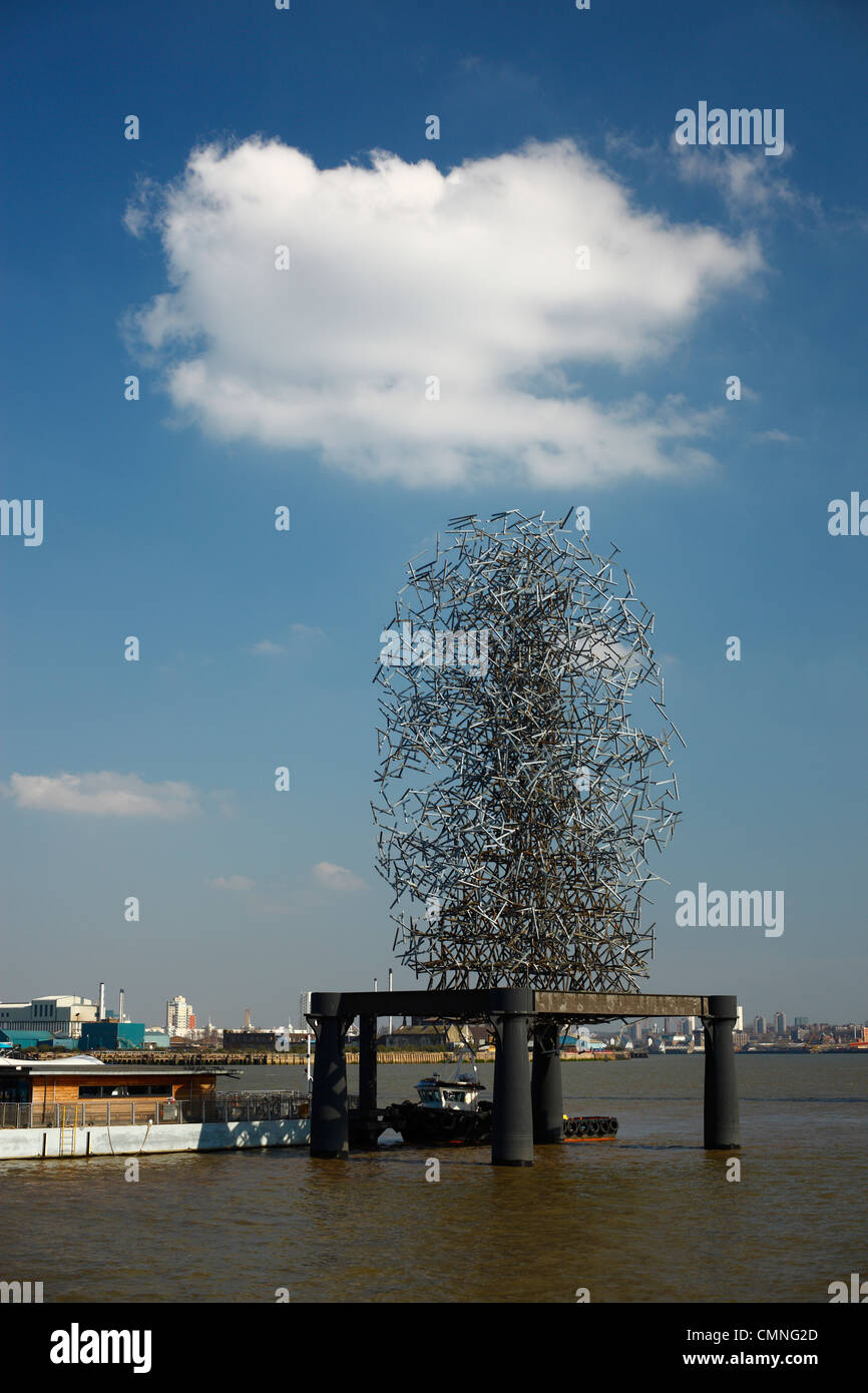Quantum Cloud sculpture by Antony Gormley, - Stock Image