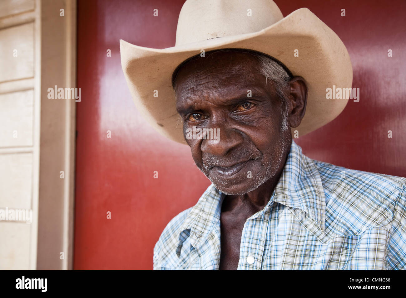 Portrait of an aboriginal stockman. Cooktown, Queensland, Australia - Stock Image