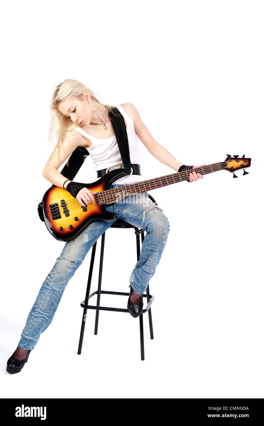 cute girl playing on the electric bass guitar isolated on the white stock photo 47187766 alamy. Black Bedroom Furniture Sets. Home Design Ideas