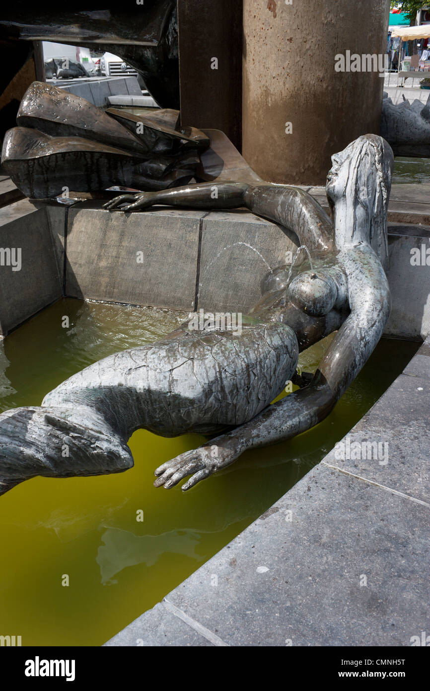 Mermaid statue, 't Zand (Zand Square), Bruges, Belgium - Stock Image