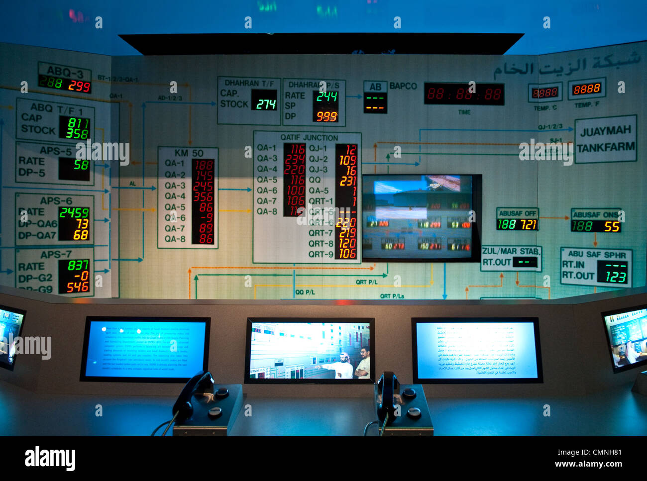 Asia Saudi Arabia Dammam, the reception center for the oil industry Aramco, monitors - Stock Image
