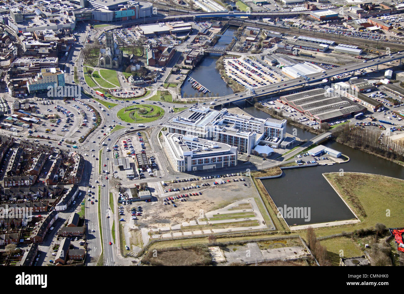 Aerial view of Doncaster waterside area - Stock Image