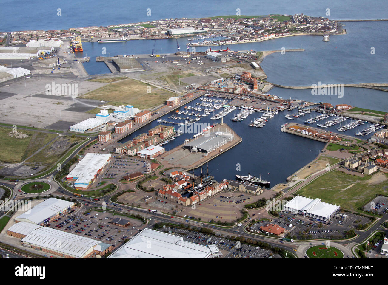 aerial view of Hartlepool town, Historic Quay, Marina and Docks - Stock Image
