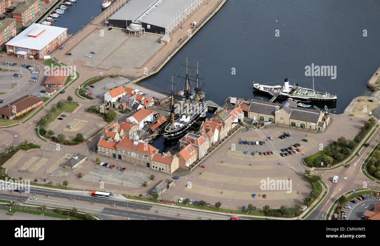 aerial view of the historic docks, Hartlepool - Stock Image
