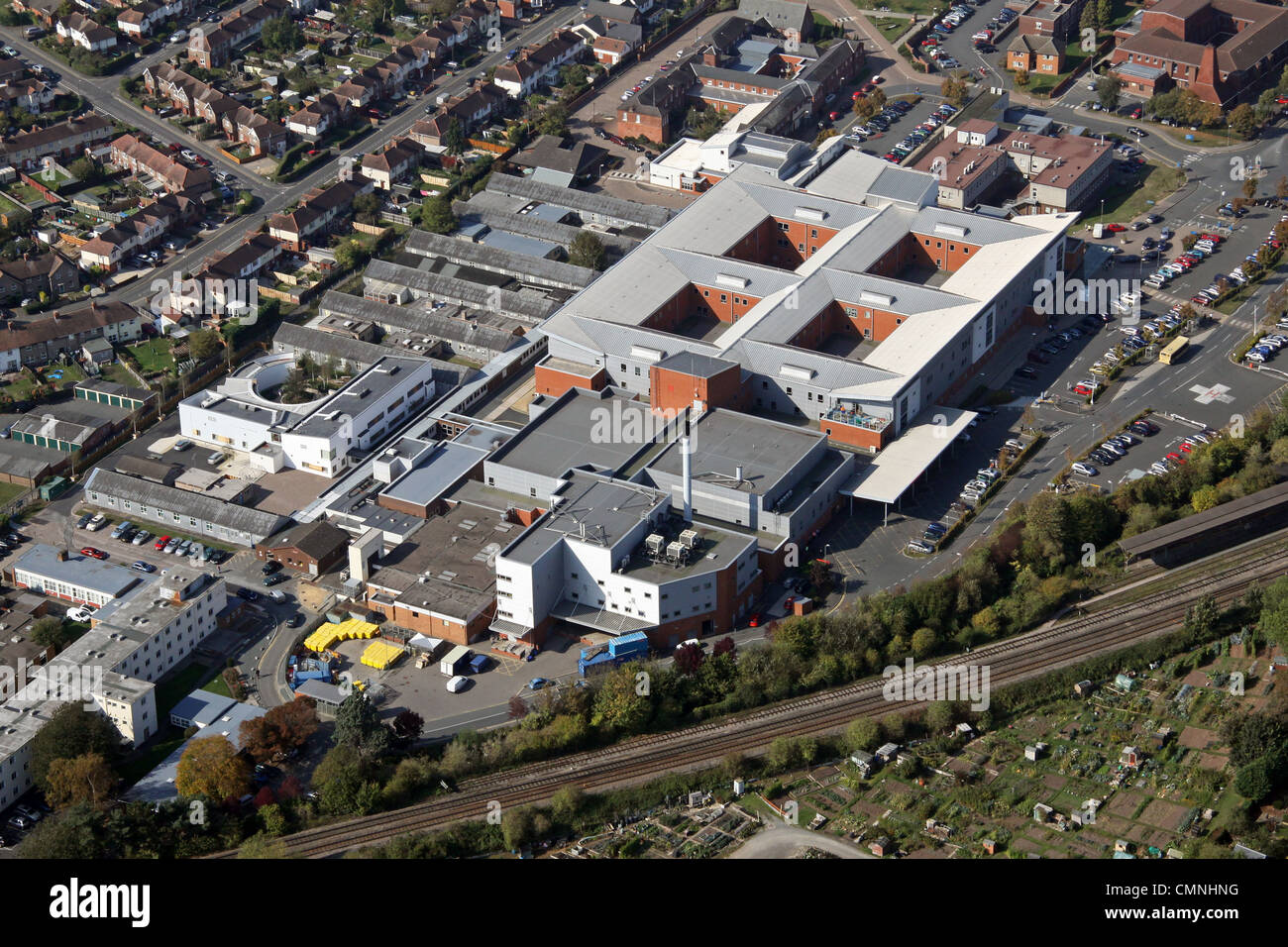 aerial view of the County Hospital Hereford - Stock Image