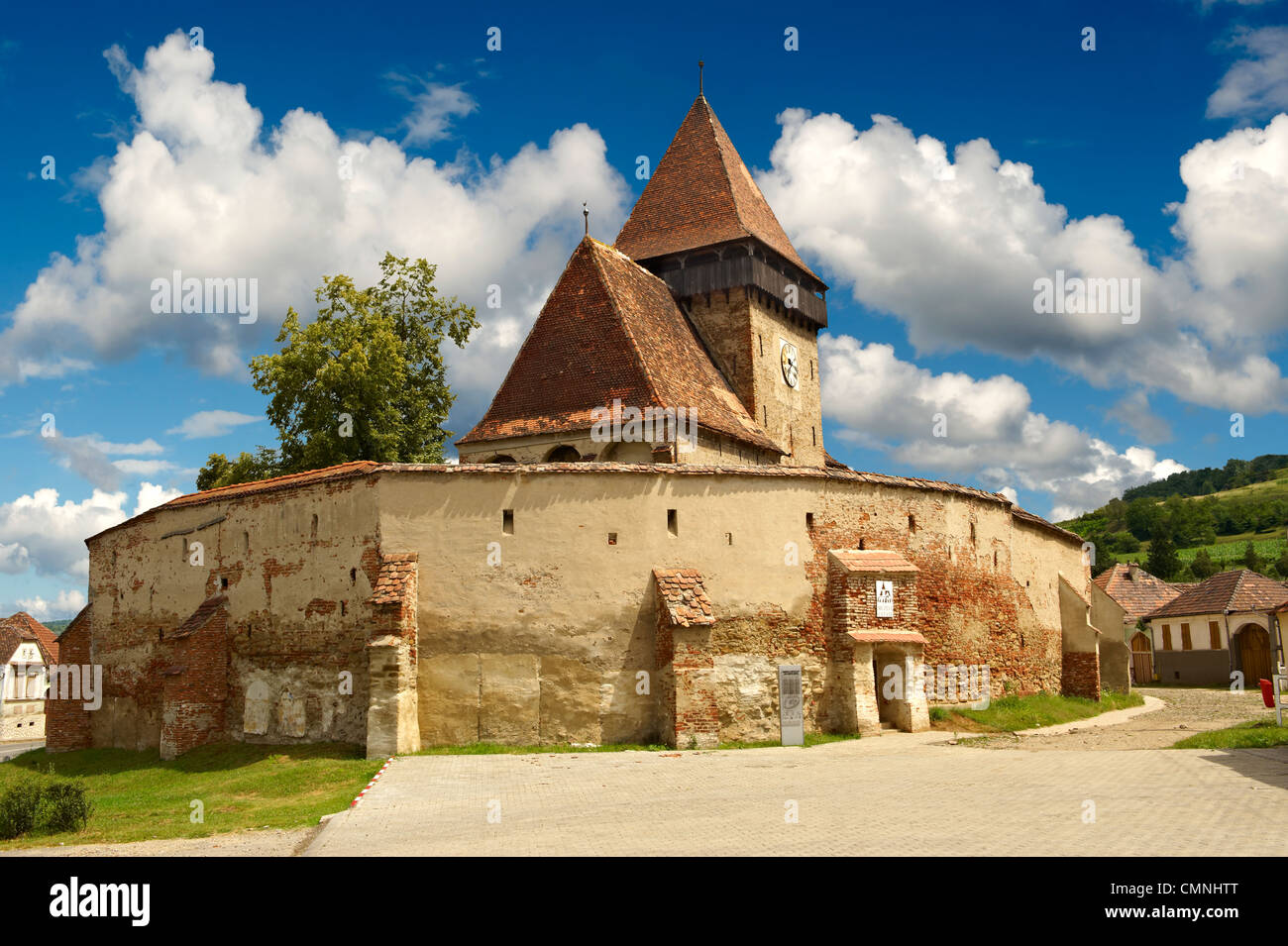 The Gothic 14th Century Axente Sever Saxon Evangelical Fortified Church, Sibiu, Transylvania. - Stock Image