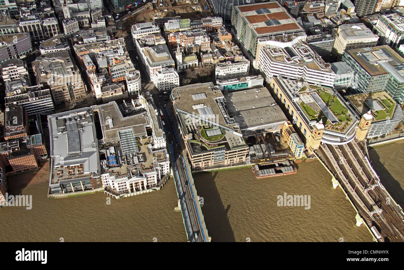 aerial view of Southwark Bridge & Cannon Street Station, Upper Thames Street, London EC3 - Stock Image