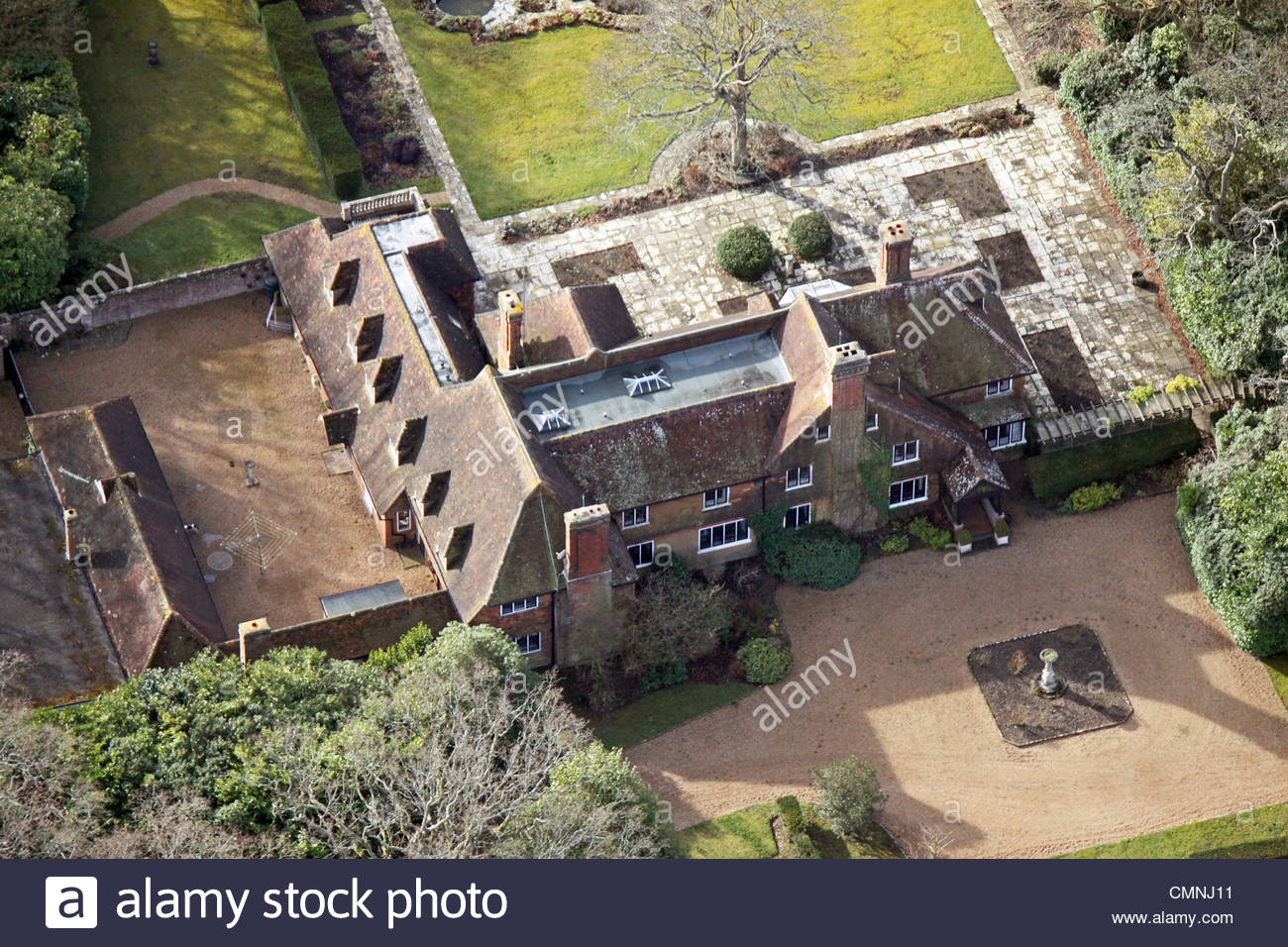 Aerial view of a smart expensive private house in the country - Stock Image