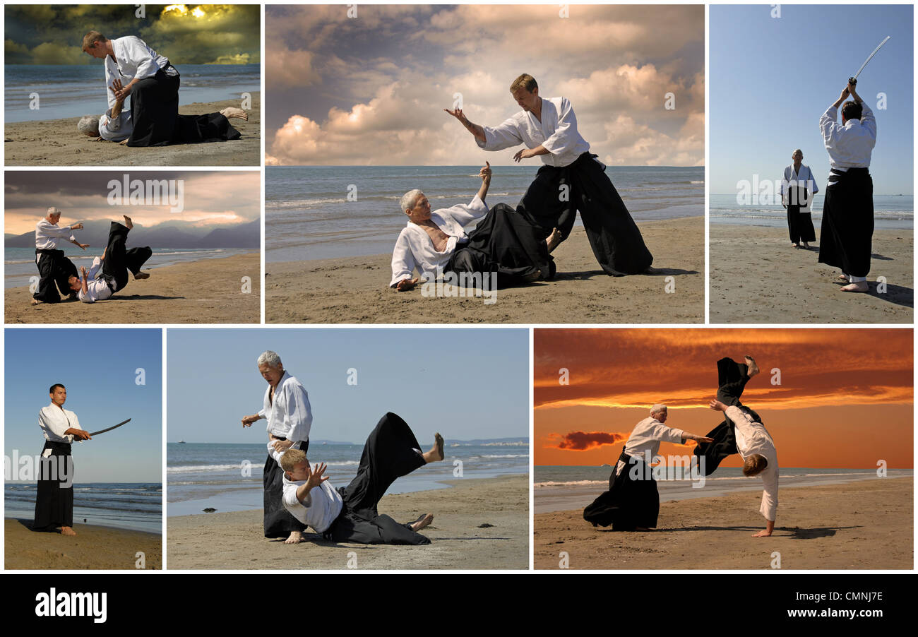 composite picture with adults who are training in Aikido on the beach - Stock Image