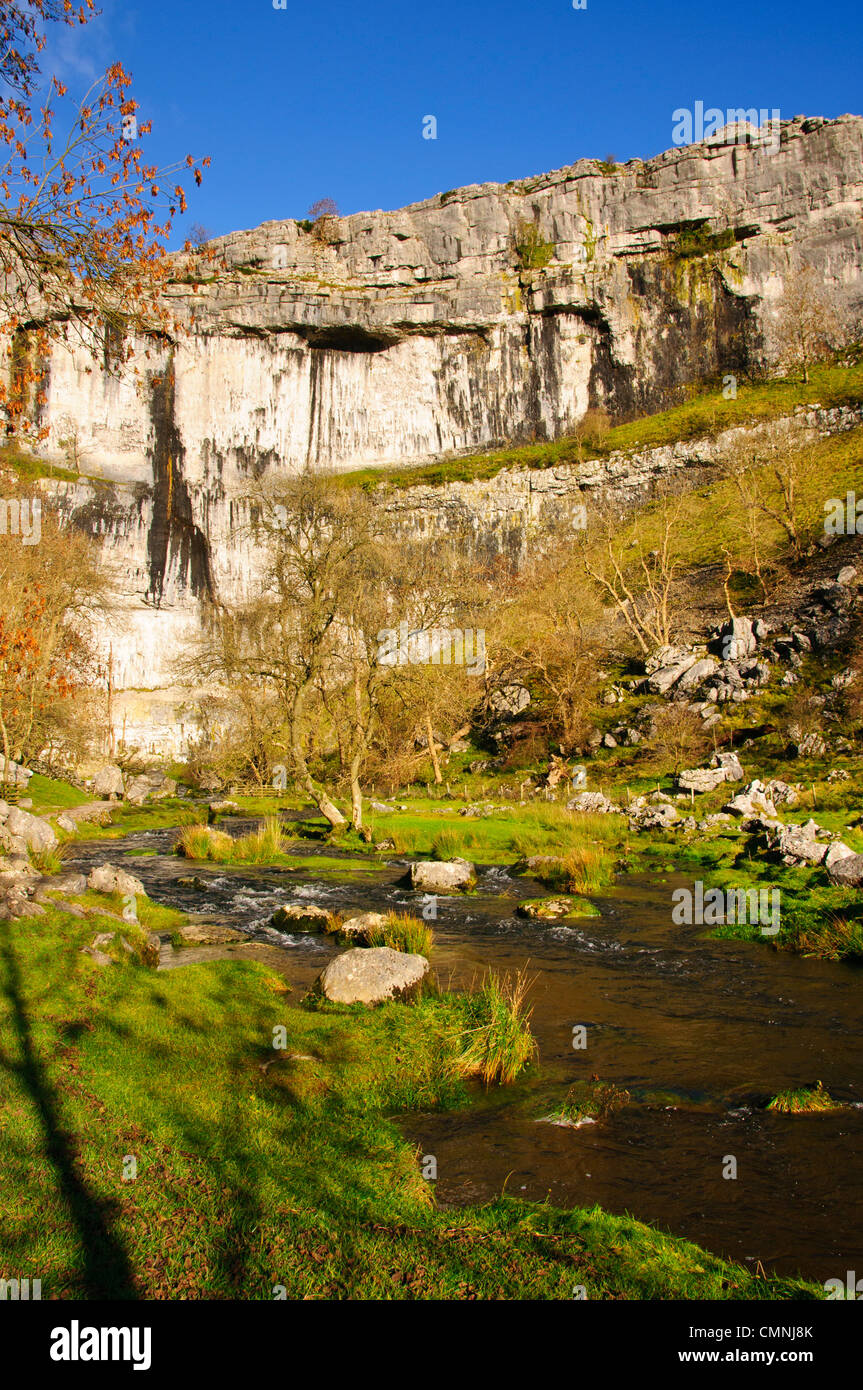 The limestone cliff at Malham Cove in the Yorkshire Dales National Park England - Stock Image