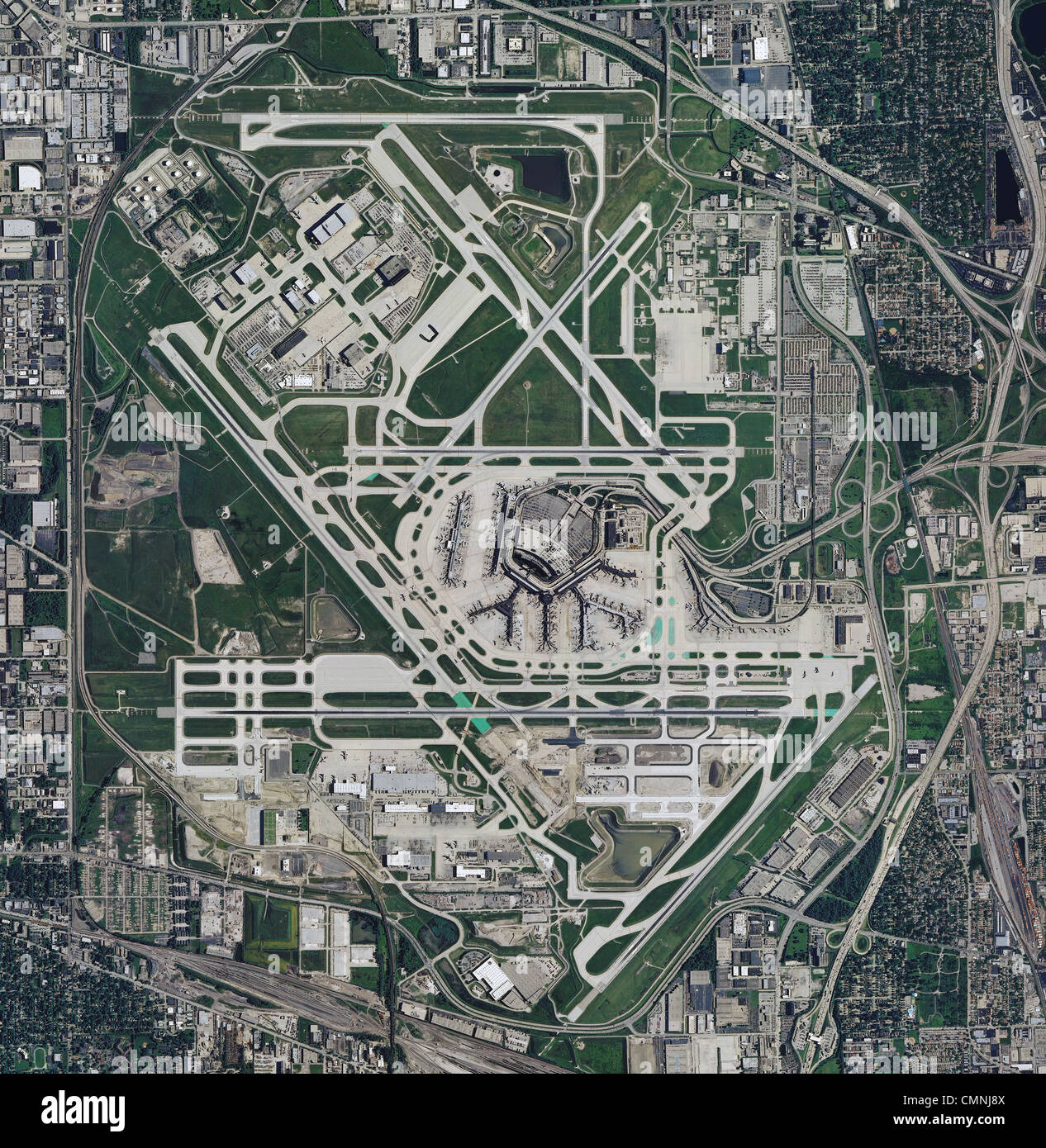 aerial photo map of Chicago OHare International Airport ORD Stock
