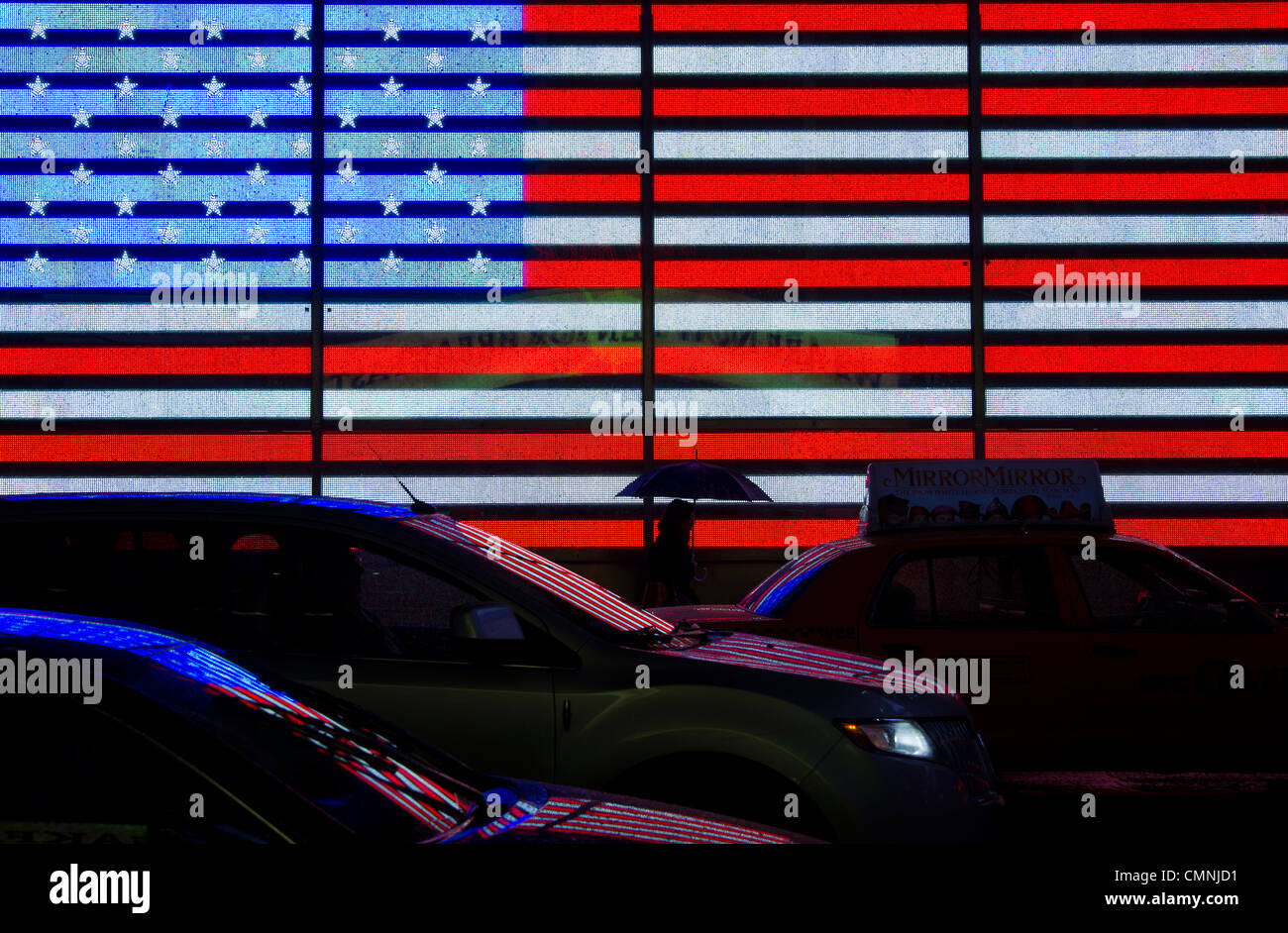 American Flag sign on Broadway in Times Square, New York, USA, on February 24, 2012. (Adrien Veczan) Stock Photo